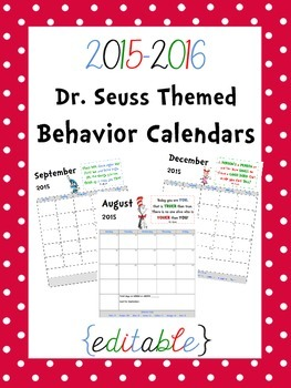 Dr. Seuss Themed Behavior Calendars