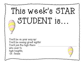 Dr. Seuss Themed Star Student of the Week Award