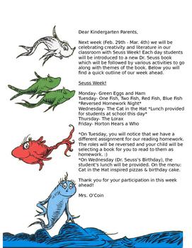 Dr. Seuss Week {Editable Letter Home To Parents}