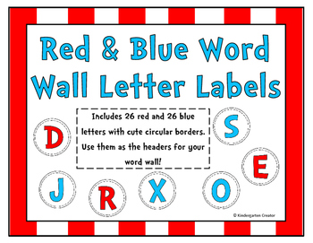Red & Blue Word Wall Labels