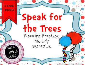 Dr. Seuss inspired Truffula Trees Melody Reading Practice BUNDLE