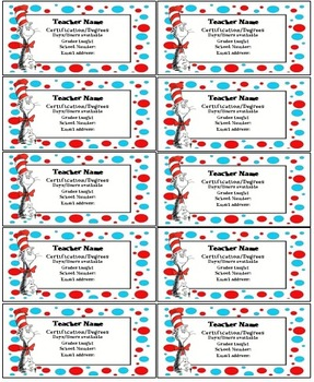 Dr Seuss teacher contact cards Editable