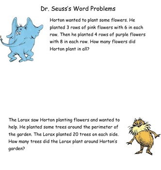 Dr. Suess multi-step word problems