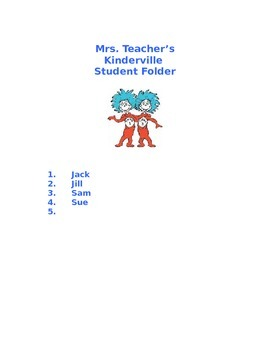 Dr.Seuss Thing 1 and Thing 2 Cover Page