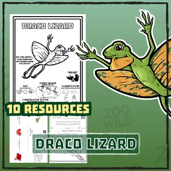 Draco Lizard -- 10 Resources -- Coloring Pages, Reading &