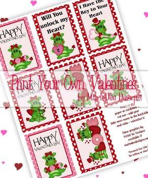 Dragon Love Printable Childrens Valentine Cards d1