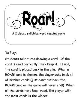 Dragon Roar! A 2 closed syllable word game  Printer Friend