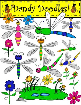Dragonflies and Daisies Clip Art by Dandy Doodles