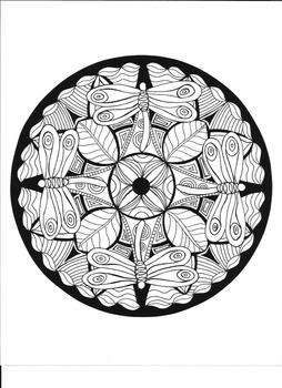 Dragonfly Mandala Coloring Page