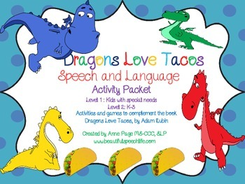 Dragons Love Tacos Activity Pack for Speech and Language