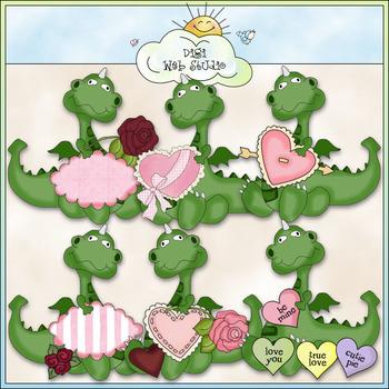 Dragons Valentine's Day Clip Art - CU Colored Clip Art