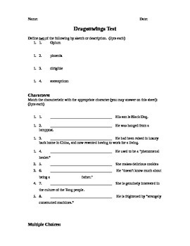 Dragonwings by Laurence Yep  (Book Test)