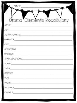 Drama Elements Vocabulary Quiz & Notes