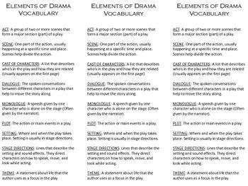 Drama Vocabulary Bookmark