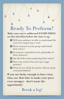"""Drama or Theatre Class Poster - """"Ready to Perform?"""" Checklist"""