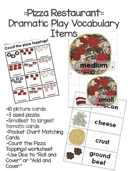 Dramatic Play Pizza Vocabulary Cards