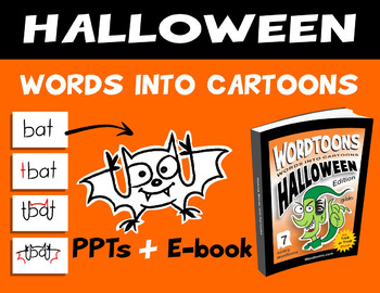 Halloween Words Into Cartoons - PPTs + Ebook