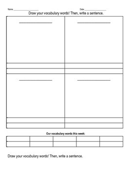 Draw Vocab Words & Write Sentence (Blank Template)