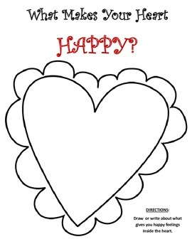 Draw Your Happy Feelings Inside the Heart FREEBIE!