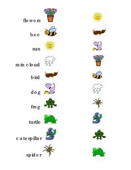 Draw a Line Match Sight Words Spring Kindergarten turtle b