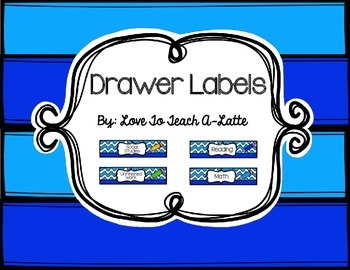Sterilite Drawer Labels Wavy Blue & Pencils Edition