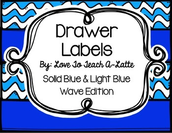 Drawer Labels Wavy Blue Plain