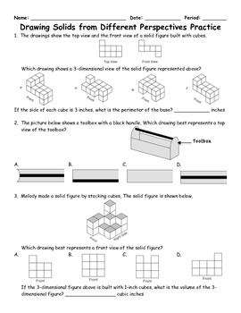Drawing 3D Solids From Different Perspectives Word Problem
