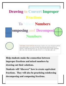 Drawing Improper Fractions and Mixed Numbers to Find Equiv