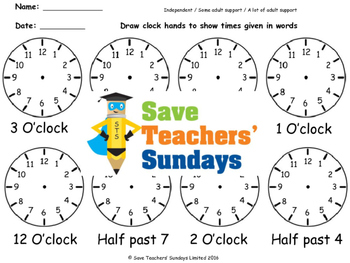 Drawing clock hands (time in words) worksheets (4 levels o