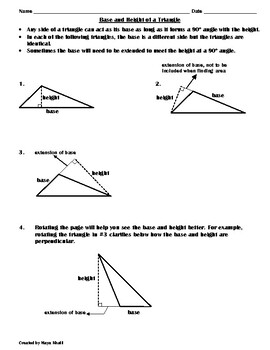 Drawing the Height to Find the Area Worksheet