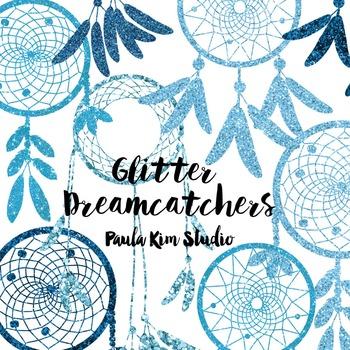 Dream Catcher Silhouette Clip Art, Blue Glitter