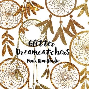 Dream Catcher Silhouette Clip Art, Copper/Dark Gold Glitter