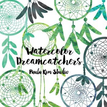 Dream Catcher Silhouette Clip Art, Green Watercolor