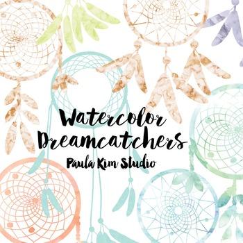 Dream Catcher Silhouette Clip Art, Light Watercolor