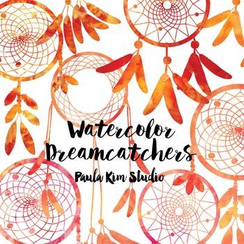 Dream Catcher Silhouette Clip Art, Orange Watercolor