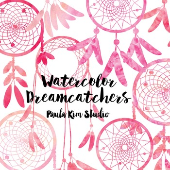 Dream Catcher Silhouette Clip Art, Pink Watercolor