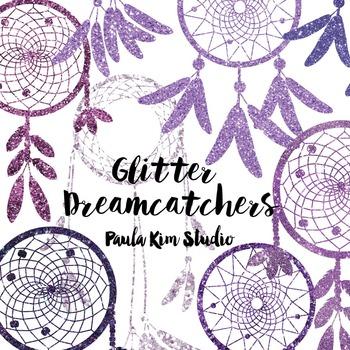 Dream Catcher Silhouette Clip Art, Purple Glitter