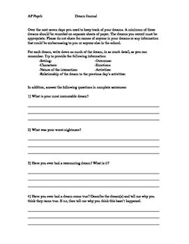Dream Journal Assignment (Middle & High School)