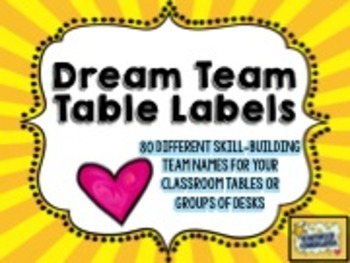 Dream Team Table Labels!  80 skill-building team names for