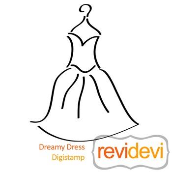 Dreamy Dress (digital stamp, coloring image) S048