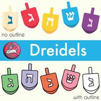 Dreidel Clip Art with Line Art, shows every side