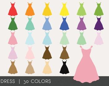 Dress Digital Clipart, Dress Graphics, Dress PNG, Rainbow