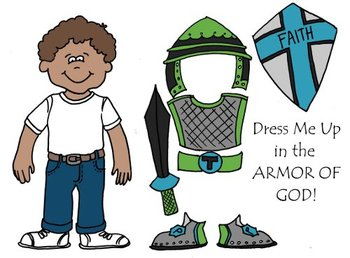 Dress Me Up in the Armor of God Eph 6 Printable, Cut & Col
