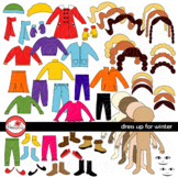 Dress Up for Winter Clothing and Paper Doll Clipart Set by
