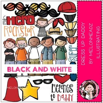 Melonheadz: Dress up Daddy clip art - BLACK AND WHITE