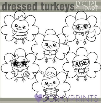 Dressed Turkeys Thanksgiving Blackline Clip Art