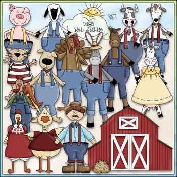 Dressed Up Farm Animals Clip Art - CU Clip Art & B&W