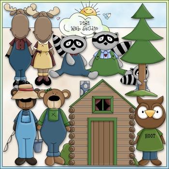 Dressed Up Northwoods Animals Clip Art - CU Clip Art & B&W