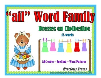 """Dresses on Clothesline - """"ail"""" Word Family"""