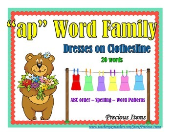 """Dresses on Clothesline - """"ap"""" Word Family"""